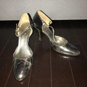 J. Crew Silver Metallic Crackle Mary Jane Heels